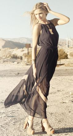 Sheer Zig Zag Maxi Dress - dress is amazing... not a fan of the shoes.