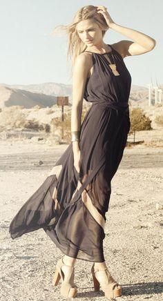 Sheer Zig Zag Maxi Dress - dress is amazing... not a fan of the shoes.