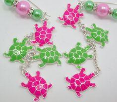 PINK & GREEN TURTLE Earrings Handmade Enameled Long by BFFGIFTS, $30.00