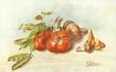 mushrooms, peas, tomatoes on table top