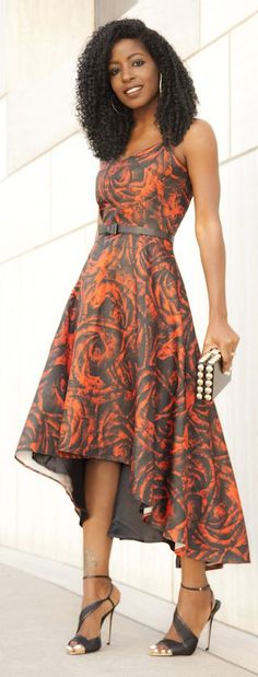 Silk Printed Midi Inspiration Dress by Style Pantry