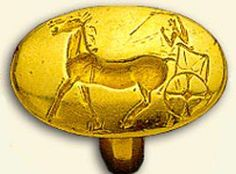 Similar box chariot but with a single man is probably also represented in this gold ring dated 1500-1400 BC part of the Aidonia treasure. It is difficult to determinate if the long object on the right hand of the man represent a javelin or a long stick used to whip the horses.