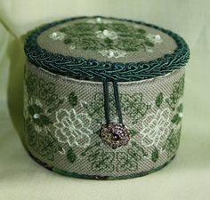 round cross stitched box