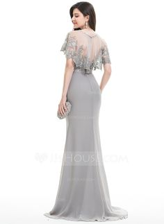Sheath/Column Sweetheart Sweep Train Ruffle Beading Zipper Up Strapless Sleeveless Yes Silver Spring Summer Fall General Plus Chiffon Hight:5.7ft Bust:32in Waist:24in Hips:35in US 2 / UK 6 / EU 32 Evening Dress