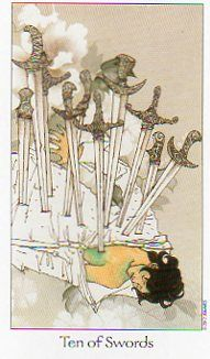 This is the Ten of Swords from Dreaming Way Tarot by Rome Choi & Kwon Shina, published by U.S. Games Systems, Inc.    http://78whispers.blogspot.com/