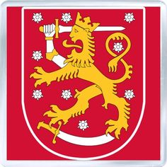 Coat of arms of Finland. The coat of arms of Finland is a crowned lion on a red field, the right foreleg replaced with an armoured hand brandishing a sword, trampling on a sabre with the hindpaws. The coat of arms was originally created around the year Lappland, National Animal, Sweden Travel, Naha, Family Crest, Crests, My Heritage, Helsinki, Coat Of Arms