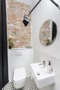 Eklektyczne mieszkanie w kamienicy Space Saving Toilet, Small Toilet Room, Small Bathroom, Cloakroom Toilet Downstairs Loo, Brick Bathroom, Wc Design, Toilet Design, House Design, Attic Shower