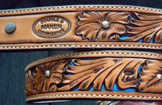 Custom Leather Belt Filagree floral handtooled belt. These belts are individually hand carved, and are very popular with rodeo participants and their fans. They can be custom made to any length. Perfect gift ideas for the cowboy or cowgirl who wants to stand apart from the crowd.