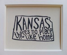 Kansas There's No Place Like Home - Place I Love Print - White Background - 8x10 Illustrated Print