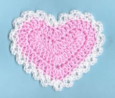Crochet heart coaster These are really easy. The edging would be perfect for a baby blanket. It would be perfect as a trim on a scarf, or use the heart as a pocket on a sweater.