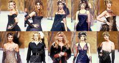 Estelle lefébure,Cindy crawford,Naomi campbell,Christy turlington,Linda evangelista,Helena christensen,Karen mulder,Claudia schiffer,Yasmeen ghauri,Nadja auermann on runway for Chanel.1993.