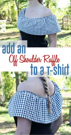 Add an off the shoulder ruffle to any old t-shirt for the ultimate upcycle craft! Sew easy: http://www.ehow.com/how_12340514_add-offshoulder-ruffle-tshirt.html?utm_source=pinterest.com&utm_medium=referral&utm_content=inline&utm_campaign=fanpage