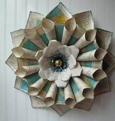 vintage map wreath - would make a beautiful flower
