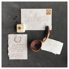 """""""Beautiful details from the #forageandfern workshop. Gorgeous stationery by @writtenwordcalligraphy, ring by @trumpetandhorn, ring box from @the_mrs_box, wooden spoon @ninaandwes. Styling by @kylieswanson, #iphone photo by me"""" Photo taken by @magnoliarouge on Instagram, pinned via the InstaPin iOS App! http://www.instapinapp.com (04/06/2015)"""