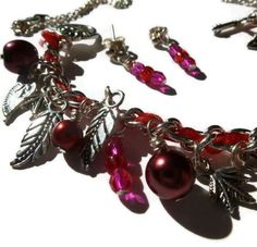 Red Ribbon Charm Bracelet Necklace and Earring by LittleHarriet, £10.00