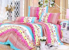 US$88.99 Fresh Colorful Stripes and Heart-shaped Pattern 4 Piece Cotton Bedding Sets with Printing. #Sets #4 #Pattern #Stripes