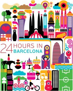 24 hours in Barcelona, Spain. Illustration by Fernando Volken Togni Magazine Deco, Travel Illustration, Flat Illustration, Thinking Day, Design Thinking, World Cities, Vintage Travel Posters, Illustrations Posters, Design Inspiration