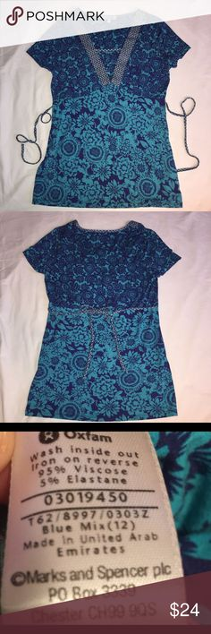 """Per Una Mix Blue Top 12 Per Una MIX BLUE Blouse  Tie Backs  Womens size 12  28"""" length  18"""" across front underarm to underarm  Very nice clean condition, no flaws  Non smoking home Per Una Tops Blouses"""