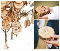 decoration mariage rondin porte alliances bois escort card