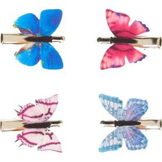 Accessorize 4 X Butterfly Hair Clips ($12) ❤ liked on Polyvore featuring accessories, hair accessories, butterfly hair clips, butterfly hair accessories, barrette hair clips, hair clip accessories and crocodile hair clips