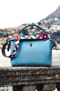 Gorgeous vibrant prints on this Fendi bag strap.