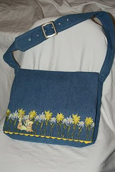 For the bookworm in your life....Recycled denim jumper and shirt=bookbag.  Too cute!