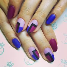 Mixed #purple color blocking with #matte top #nailart #nail #notd #nailjunky #nailporn #nyc #gelmanicure #spring vanity projects