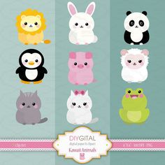 Kawaii Animals Clip Art Set  9 Printable cliparts for by DIYgital
