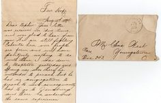 1894 Correspondence to Mr. Charles West of Youngstown , Ohio from his Uncle in Fair Hope, Ohio