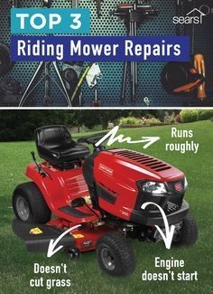 Broken lawn mower? Check out these tips to determine what's wrong with your mower and if it's a DIY fix or a job for a repair technician. Here are three common riding mower problems and what you should do about them. If the engine doesn't start, you might need a fresh tank of fuel. If your riding mower is running roughly, it's likely your carburetor is clogged. If the mower won't cut grass, check the blade belt for cracks. Visit the Sears Home Services Knowledge Center for more!