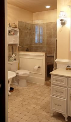 Half wall for shower.  Historic Home Addition with Period Correct Bathroom - traditional - bathroom - raleigh - Southern Evergreen Architecture+Design