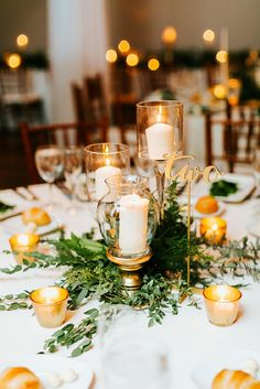 Pillar Candle in glass candle holder Affordable Wedding Centerpieces #goldcenterpieces #elegantcenterpieces