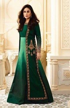Buy Green Silk With Resham Work Anarkali Suit - Salwar Kameez for Women from Andaaz Fashion at Best Prices. Style ID: Salwar Kameez, Anarkali Churidar, Kurti, Lehenga Choli, Pakistani Wedding Dresses, Designer Wedding Dresses, Indian Dresses, Eid Outfits, Dress Outfits