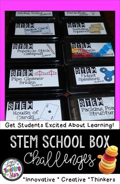 Looking for easy to add STEM Activities in your elementary classroom? Easy to make and supplies are common materials you probably already have. 12 different school box challenges that will engage your students in activities that will get them thinking creatively as they engineer and design. Students will learn and have fun! Great for Makers spaces, After school stem clubs, and independent work (third, fourth, fifth graders, Grade 3,4,5)