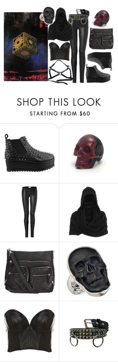"""""""hellraiser"""" by paganfears ❤ liked on Polyvore featuring UNIF, Shanka, Helmut Lang, Gestuz, AllSaints, Charles Albert, Maurie & Eve and Demonia"""