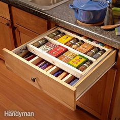 <p>this spice rack drawer is not only a space-saver but also a smart organizer since all the spices are in one place, face up. we used the same basic design to make a two-tier utensil drawer too.</p>
