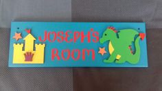 Dragon and Knights Castle Personalised Door Name Sign Name Plaque. Any Name/Names, Any colours. Bedroom Sign Boys room Decor Dragons Sign by FairylandDecor on Etsy Door Plaques, Name Plaques, Cardboard Letters, Bedroom Signs, Hobby Ideas, Boys Room Decor, Craft Business, Name Signs, Knights