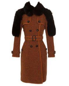 BURBERRY PRORSUM Wool Tweed Trench Coat With Fox Fur Panels