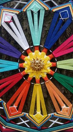 Items similar to Ojo de Dios Eye of God Yarn Mandala 12 months, Created by a Reiki Master Teacher. on Etsy Mandala Art, Dream Catcher Mandala, Dream Catcher Art, Yellow Butterfly Tattoo, God's Eye Craft, Diy Dream Catcher Tutorial, Horse Tattoo Design, Crochet Wall Hangings, Gods Eye