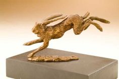 Bronze Rabbits and Hares Sculptures #sculpture by #sculptor David Cemmick titled: 'On The Move (Little Bronze Running Hare Sculptures)' £225 #art