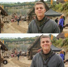 Alex Hoegh Andersen on the set of Vikings.