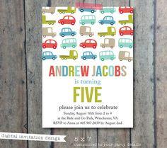 Birthday invitation - boy birthday party - Truck and car theme invitation - boys party invite - transportation theme party on Etsy, $16.00
