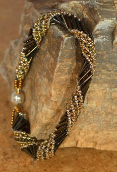 Hand Beaded Spiral Green and Gold Bracelet by craftinghooker, $25.00
