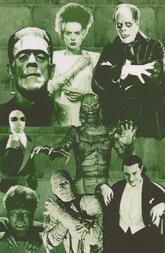 🎃 Movies for Halloween, Vintage Universal Horror Family, created by JACK PIERCE. Horror Icons, Sci Fi Horror, Horror Films, Horror Art, Classic Monster Movies, Classic Horror Movies, Classic Monsters, Monster Squad, Monster Mash
