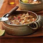 White Bean and Turkey Chili Recipe, originally from Cooking Light | MyRecipes.com.  This is my favorite soup/chili. I use a rotisserie chicken and sometimes swap out other types of canned beans.