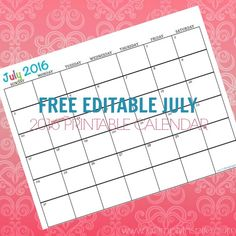 Free Printable Calendar July 2016 - Perfect for meal planning, exercise schedules, cleaning schedules and more