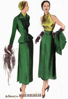 1950s Vintage Sewing Pattern Advance 5364 Mademoiselle Peplum Suit with Tubular back Skirt Panel and Sleeveless Blouse Size 12 Size 12