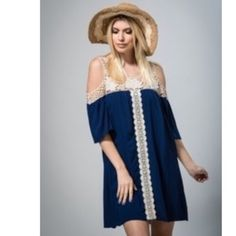 🎉Buy 1 Get 1 50% Off🎉Navy Crochet Tunic Dress Gorgeous neck crochet hem detailed tunic dress. 100% Raylon, high quality. Stunning!! Pair with dress extender as shown in last photo. Dresses