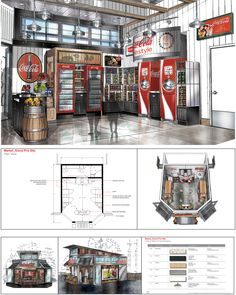 Coca-Cola marketplace design inside of World of Fun amusement park.