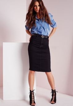 Missguided - High Waisted Midi Denim Skirt Black
